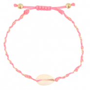 Ready-made Bracelets Cowrie braided Pink