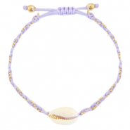 Ready-made Bracelets Cowrie braided Lilac Purple