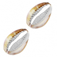 Resin pendants cowrie shell Mixed Brown-Silver