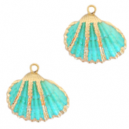 Shell pendant specials Cockles Gold-Turquoise Blue