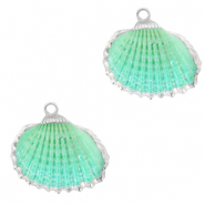Shell pendant specials Cockles Silver-Spring Turquoise Green