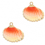 Shell pendant specials Cockles Gold-Vanilla Red Ombre