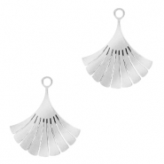 Stainless steel charms Ginkgo leaf Silver