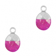 Natural stone charms Dark Fruit Dove Pink-Silver