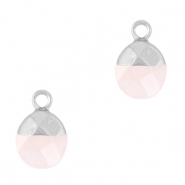 Natural stone charms Icy Pink-Silver