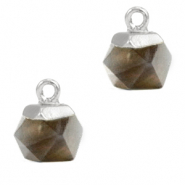 Natural stone charms hexagon Black Diamond-Silver