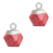 Natural stone charms hexagon Marble Red-Silver