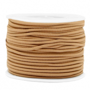Coloured elastic cord 2mm Camel Brown