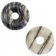 Natural stone charm disc Black-Grey