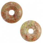 Natural stone charm disc Greenish Grey