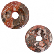 Natural stone charm disc Multicolour Grey-Red