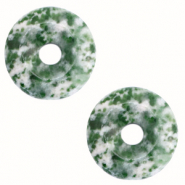 Natural stone charm disc Multicolour Dark Green
