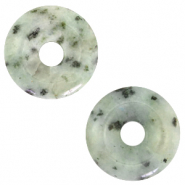 Natural stone charm disc Grayed jade Green