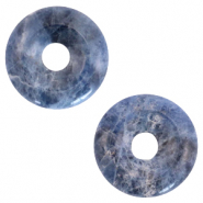 Natural stone charm disc Multicolour Blue