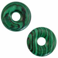 Natural stone charm disc Green-Black