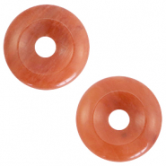 Natural stone charm disc Dark Coral Red