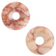 Natural stone charm disc Ginger Pink