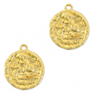 Brass TQ metal charms zodiac sign aquarius Gold