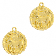 Brass TQ metal charms zodiac sign capricorn Gold