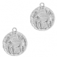 Brass TQ metal charms zodiac sign capricorn Silver