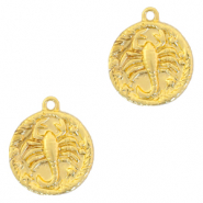Brass TQ metal charms zodiac sign scorpio Gold
