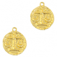 Brass TQ metal charms zodiac sign libra Gold