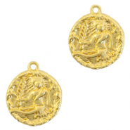 Brass TQ metal charms zodiac sign virgo Gold