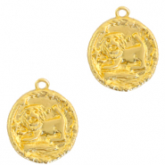 Brass TQ metal charms zodiac sign leo Gold