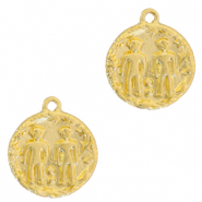 Brass TQ metal charms zodiac sign gemini Gold