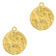 Brass TQ metal charms zodiac sign aries Gold