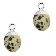 Natural stone charms Greige-Silver