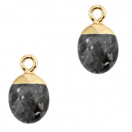 Natural stone charms Anthracite-Gold