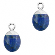 Natural stone charms Dark Blue-Silver