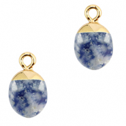 Natural stone charms Blue White-Gold