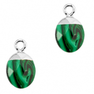 Natural stone charms Green-Silver