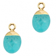 Natural stone charms Turquoise Blue-Gold