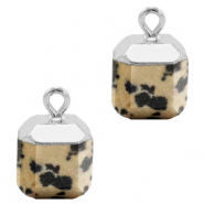 Natural stone charms square Greige-Silver