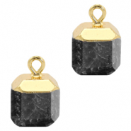 Natural stone charms square Anthracite-Gold