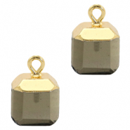 Natural stone charms square Black Diamond-Gold