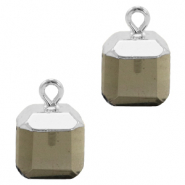 Natural stone charms square Black Diamond-Silver