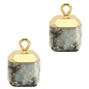 Natural stone charms square Fossil Grey-Gold