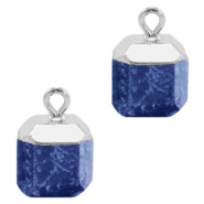 Natural stone charms square Dark Blue-Silver