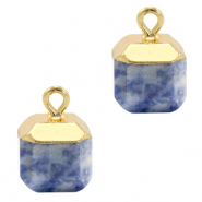 Natural stone charms square Blue White-Gold