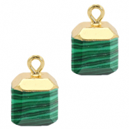 Natural stone charms square Green-Gold