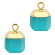Natural stone charms square Turquoise Blue-Gold