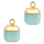 Natural stone charms square Icy Morn Blue-Gold