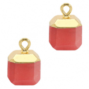 Natural stone charms square Crimsom Red-Gold