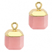 Natural stone charms square Blossom Pink-Gold