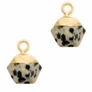 Natural stone charms hexagon Greige-Gold