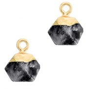 Natural stone charms hexagon Anthracite-Gold